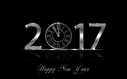 Happy New Year 2017. Vector background. Happy New Year 2017. Background with silver sparkling texture. Vector iIlustration with clock Royalty Free Illustration