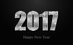 Happy New Year 2017. Vector background. Happy New Year 2017. Background with silver sparkling texture. Vector Illustration Stock Photo