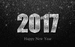Happy New Year 2017. Vector background. Happy New Year 2017. Background with silver sparkling texture. Vector Illustration Stock Images