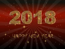 Happy New Year 2018. Vector background.Typographic Wishes and Winter Holiday Elements on dark background. Glittering illustration. Happy New Year 2018.Vector Stock Photo