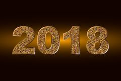 Happy New Year 2018. Vector background.Typographic Wishes and Winter Holiday Elements on dark background. Glittering illustration. Happy New Year 2018.Vector stock illustration