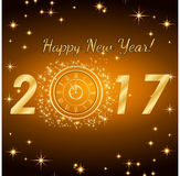 Happy New Year 2017. Vector background. Typographic Wishes and Winter Holiday Elements on gold background. Greeting illustration for Xmas. Template for Stock Photography