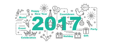 Happy new year 2017 vector banner Stock Photography