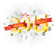 Happy new 2015 year. Vector banner with red ribbon Royalty Free Stock Photography