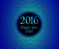 Happy New Year 2016. Vector - Happy New Year 2016 - blue disco lights frame. Vector illustration Royalty Free Illustration