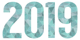 2019 Happy New Year vector blue low poly symbol isolated. 2019 Happy New Year vector blue polygonal logo Stock Photography
