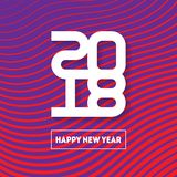 Happy New Year 2018. Vector brochure design template. Cover of b. Usiness diary for 2018. Vector greeting card with modern halftone gradient Royalty Free Stock Photo