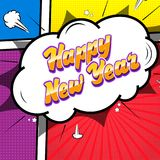 Happy New Year. Comic text sound effects. Stock Photos
