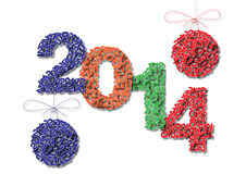 Happy new year 2014 vector card 2.  Royalty Free Stock Photo