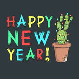Happy New Year. Vector card with cactus, garland and inscription. EPS10 Royalty Free Stock Photos