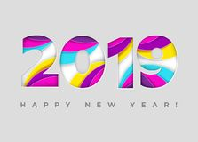 2019 Happy New Year Vector Card. Paper Cut Textured Numbers. Trendy Typography with Geometric Hipster Pattern. Creative 2019 Logo Design. Colorful Xmas vector illustration