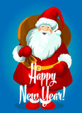 Happy New Year vector card. Santa with gifts bag. Happy New Year greeting card. Santa Claus with big gifts bag, standing and smiling in winter boots, mittens Royalty Free Stock Photos