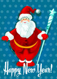 Happy New Year vector card. Santa symbol. Happy New Year greeting.  standing Santa with white beard in traditional winter celebration clothing holding frosty Royalty Free Stock Photos