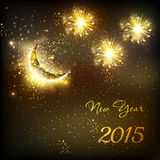 Happy New Year vector celebration background fireworks with moon Royalty Free Stock Photography