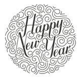Happy New Year vector Christmas card. Original calligraphy. Stock Photos