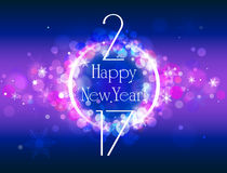 Happy New Year 2017 vector colorful background. New Year vector purple pink background with some space for text Stock Photos