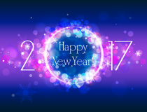Happy New Year 2017 vector colorful background. New Year vector purple pink background with some space for text Stock Photography