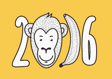 2016 Happy New Year vector creative greeting card. Hand drawn sm. Iling monkey face and banana figures. T-shirt print design illustration Royalty Free Stock Photography
