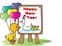 Happy new year. Vector cute duckling holding balloos stock illustration