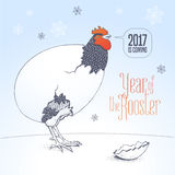 Happy New Year 2017 vector cute nonstandard greeting card. Illustration with rooster, cock. Graphic design element with Chinese year bird and 2017 hand drawn Royalty Free Stock Photography