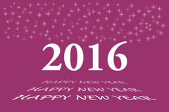 Happy new year vector in dark pink color. Happy new year vector card with the white numbers 2016 and bevelled inscription  Happy New Year on the trendy dark pink Stock Images