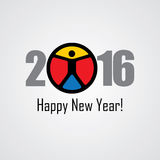 Happy new year 2016 vector design icon with a person Royalty Free Stock Images