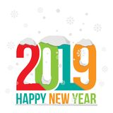 Happy new year 2019 vector design illustration winter theme royalty free stock photography