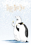 Happy new year 2017 vector drawing, greeting card. Polar bear and penguin drinking glass of champagne funny nonstandard illustration. Design element with Happy Royalty Free Stock Images