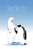 Happy new year 2017 vector drawing, greeting card. Polar bear and penguin drinking glass of champagne funny nonstandard illustration. Design element with Happy stock illustration