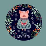 Happy New Year. Vector floral pattern with piglet. And hand-drawn lettering stock illustration