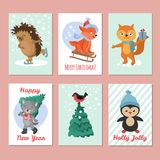 Happy new year vector flyers. Merry christmas postcard with cute winter animals Royalty Free Stock Photos