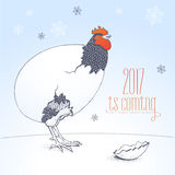 Happy New Year 2017 vector funny seasonal greeting card. Illustration with rooster, cock. Graphic design element with Chinese year bird and 2017 hand drawn Stock Image