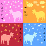 Happy new year vector. With goats and four seasons Royalty Free Stock Image