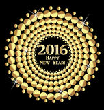 Happy New Year 2016. Vector gold balls design background stock illustration