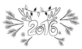 Happy New 2016 Year! Vector  graphics design. Postcard template. Poster design background. Christmas logo Stock Image
