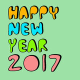 Happy new year 2017. Vector happy new year 2017 on green background Stock Illustration