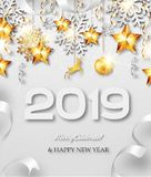 Happy New Year vector greeting card. Abstract vector New Year 2019 greeting card with silver and golden snowflakes, event ball, stars and ribbons vector illustration
