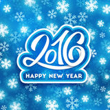 Happy New Year 2016 vector greeting card. Happy New Year 2016 greeting card design. Blue blurred background with snowflakes and white hand lettering inscription Stock Photography