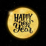Happy New Year 2018 vector greeting card design. Happy New Year typographic text on golden christmas ball over black background with yellow glitters. Vector Stock Photos