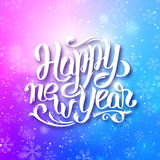 Happy New Year 2016 vector greeting card. Happy New Year 2016 greeting card design with typography . Blue blurred background with snowflakes and white hand Royalty Free Stock Photos