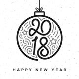 Happy New Year 2018 vector greeting card design Stock Images