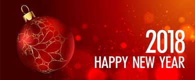 Happy New Year vector greeting card gold Christmas ball on red background. Happy New Year 2018 vector greeting card of golden Christmas ball decoration with gold vector illustration