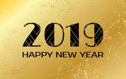 Happy New Year 2019. Vector greeting card with golden background. Happy New Year 2019. Vector greeting card with numbers on golden background royalty free illustration