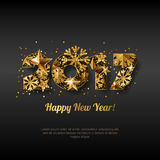 Happy New Year 2017 vector greeting card with golden numbers. Abstract holiday black glowing background. Stars and snowflakes with gold shining pattern Stock Photo