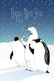 Happy New Year 2017 vector greeting card. Group of penguin, polar bear characters drinking champagne funny illustration. Design element with Happy New Year Royalty Free Stock Images