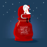 Happy New Year 2017 vector greeting card, illustration. Design element with cute Santa Claus, bag with gifts and Happy New Year stamp Stock Illustration