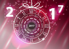 Happy New Year 2017 vector greeting card Stock Images
