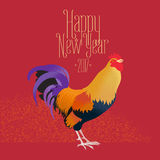 Happy New Year vector greeting card, illustration with rooster. Design element with Chinese year animal and Happy New Year hand drawn lettering Royalty Free Stock Photos
