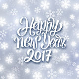 Happy New Year 2016 vector greeting card. Happy New Year lettering on festive winter background with snowflakes. Vector greeting card design template with Stock Photography