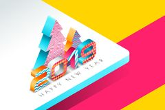 Happy New Year 2019 vector greeting card with multicolor numbers and Christmas tree in 3d isometric style. Abstract holiday background. Concept for New Year stock illustration